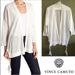 NWOT Vince Camuto Pointelle Side Lace-Up Cardigan